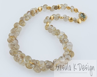 PERFECT GIFT Golden Rutilated Quartz Statement Necklace with Swarovski 24K Gold, Gem-Quality Faceted Quartz, Handcrafted Fine Bridal Jewelry