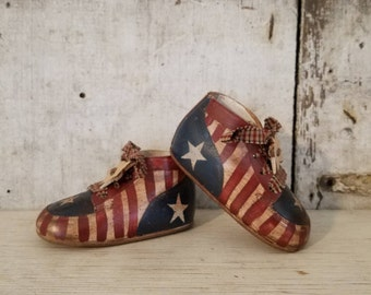 Americana on Vintage Baby Shoes, Americana Decor, Stars and Stripes, Primitive Decor, Painted Americana, Primitive Americana, Country Decor