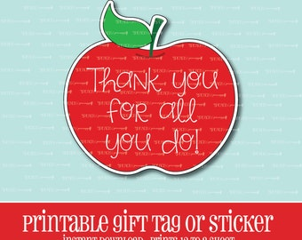 INSTANT DOWNLOAD,Apple Gift Tag,Teacher,Gift,Teacher Gift,Printable,Teacher Appreciation,Apple,Apple sticker,thank you