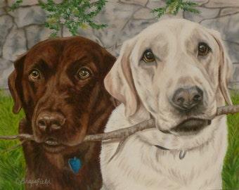"""Custom Pet Portrait 8""""x10"""", 2 pets, Oil on Gessobord from your photo by Cynthia Brassfield"""