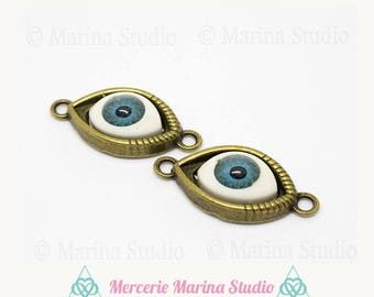 2 connector look resin bronze supportcouleur kabbal, evil eye protection