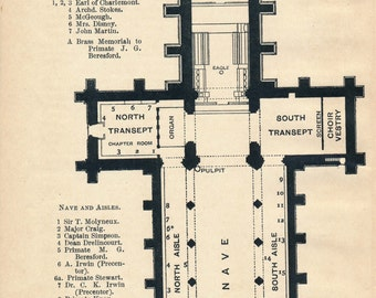 1902 St Patrick's Cathedral Armagh Ireland Antique Map