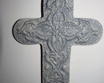 Wall cross, rustic cross, religious decor, shabby cross, heavy resin cross, painted cross, stone cross, hanging cross, religious gift