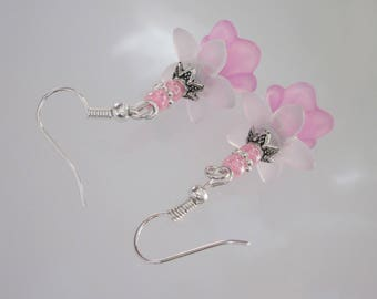 Pink Flower Earrings, Pastel Dangle, Pink Lucite Earrings, White Flower Jewelry, Victorian Floral Jewelry