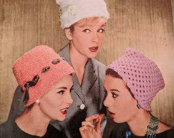 Original Vintage Lee Target Knitting Pattern Ladies Hats Knitting Pattern 1960s Iconic Styles