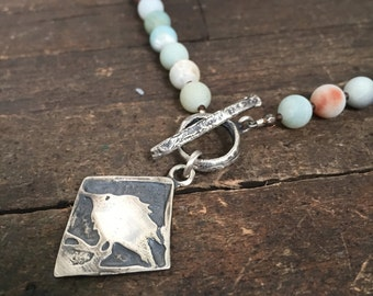 Baby Crow Sterling Silver & Matte Amazonite Round Beads