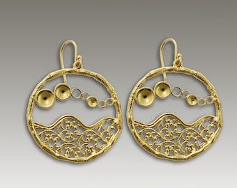 Yellow Gold Lace Earrings, gold earrings, round lace earrings, dangle earrings, bridal earrings, evening earrings - Golden waves. EG2171