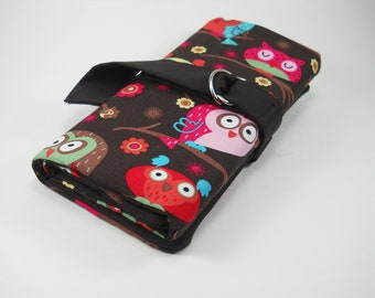 Double pointed needle case-owls