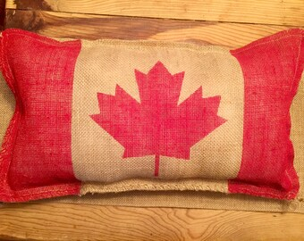 Canadian Flag Burlap Pillow