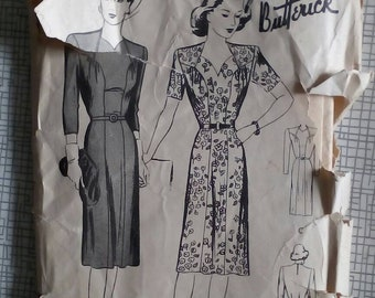 "1940s Dress - 38"" Bust - Butterick 2511 - Vintage Sewing Pattern"
