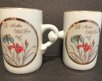 Vintage To Mother With Love Demitasse Cups