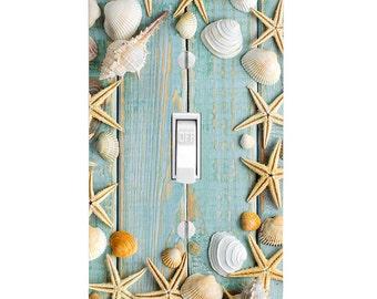 Seashell Wood Plank Light Switch Cover, Home Decor, Housewarming, Lighting, Wall Decor, Beach Decor, Beach Bathroom, Switchplate, Nautical