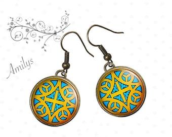 Celtic yellow, blue jewelry earrings Celtic