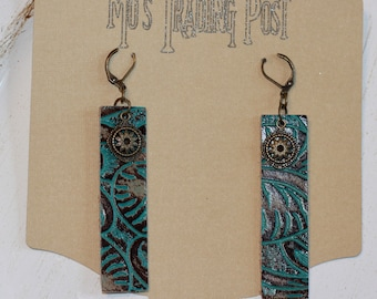 Embossed Turquoise Bars Leather Earrings