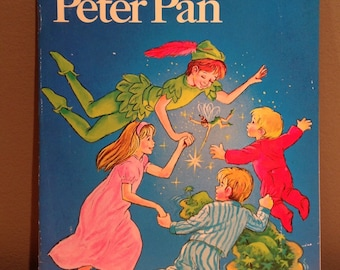Vintage 1970 Peter Pan child's book with 33 1/3 RPM record narrated by Kay Lande and adapted by Carol Joan Drexler by Educational Reading Se