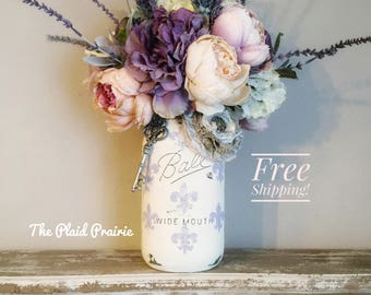 French Country Decor Floral Arrangement, Mason Jar Decor, Shabby Chic Decor,  Spring Decor