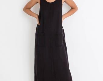 90s Black Oversized Sack Dress L