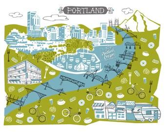 Wall Art-Portland OR-Art Print-3 Color-City Illustrations-10x8-You Choose Color-Custom City Illustration