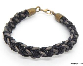 Mixed leather braided bracelet, woman, man, teen, Brown, black