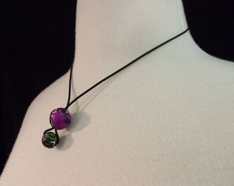 Drop Bobbles Purple Necklace