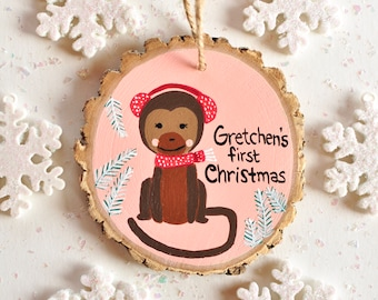 Monkey Ornament, First Christmas Baby Ornament, Newborn Gift, Kid Personalized Ornament, Ornament with Name, Christmas Gift for Baby Girl