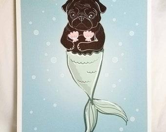 Black Mermaid Pug - Bikini Shell Top - Eco-Friendly 8x10 Print