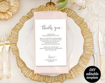 Wedding Thank You Card, Thank You Wedding Printable, Editable Template, Kraft Printable, DIY Printable Template, PDF Instant Download