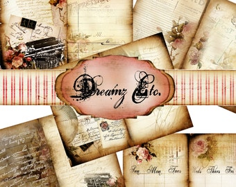 """Digital Journal Kit """"Vintage Love Story"""" - Kit Paper Pack 1, Great for Scrapbooking, Journals, Card Making and Mixed Media Projects"""
