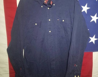 Tommy Hilfiger Navy Ling Sleeve Button Up L