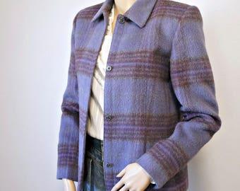 Veste Crop alpaga laine Blazer veste manteau Harve Benard à carreaux Preppy taille mauve 1990 6