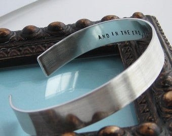 Sterling Silver Handstamped Cuff Bracelet- 3/8 inch wide, single side, single line stamped inside or outside