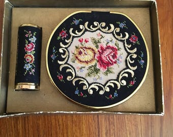 Vintage Petit Point Compact with Puff and Lipstick Case, GoldenSeal, Germany, 1950s
