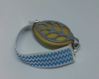 Bellabeat bracelet, elastic strap bracelet Blue and white to use with Bellabeat Leaf - bellabeat strap - Chevron, bellabeat anklet