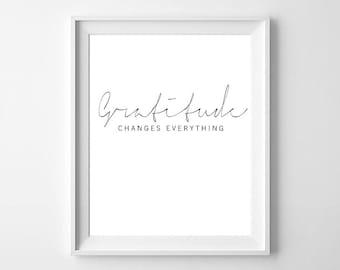 Gratitude changes everything, gratitude print, gratitude poster, thankful print, be thankful, typography, motivation quote,  printable quote