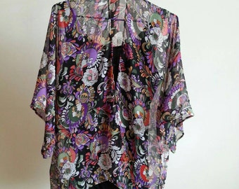 Colorful Peony Floral Black Background Design Half Sleeves Kimono Cardigan - 100% Handmade with Chiffon Fabric