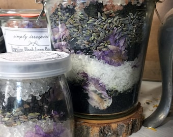 Herbal Bath Salts | Hawaiian Black Lava Salt | Soaking Salts | Ritual Salts | Love Salts | Soaking Salts |  Detox Salts | Floral Salts