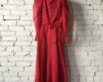 1970's Red Formal Dress