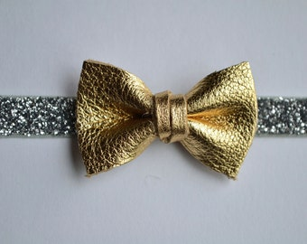 Gold Metallic Bow Leather Headband Gold Bow Silver Glitter Bow Photo Prop Headband for Newborn Baby Little Girl Child