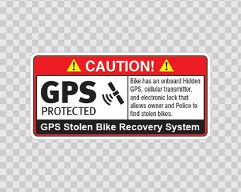Decal Sticker Gps Protected Prevention Sign Bike Home 14068
