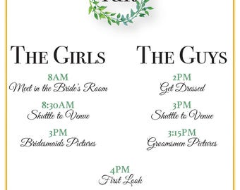 Greenery Bridal Party Itinerary