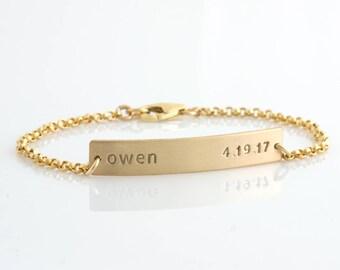 Gold Bar Bracelet /Nameplate Bracelet /Personalized Bracelet/Gold Chain/ Initials/Gold Fill/Wedding Gift/Bridesmaid Gift/Gift for Wife/B204