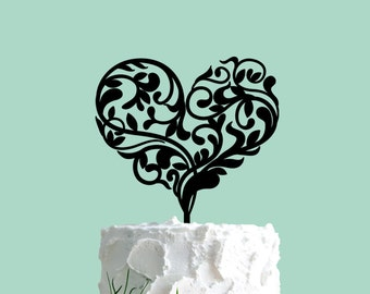 Wedding Cake Topper, Ornate Heart, Cake Topper, Wedding Cake Decor