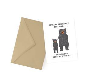 Beary Best Dad Pun Card