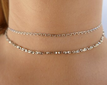 Dainty Silver Chain Choker Necklace  | Chain Choker | Silver Choker | Dainty Choker | Thin Choker | Delicate Choker | Adjustable Choker