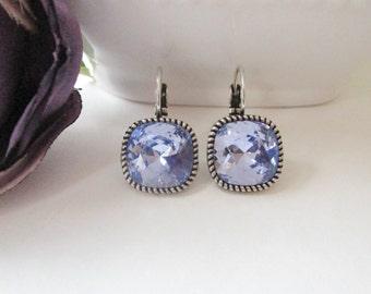 Swarovski Crystal Earrings, Lilac Earrings, Lavender Earrings, Bridesmaid Jewelry, Bridesmaid Earrings, Pastel, Purple, Leverback Earrings
