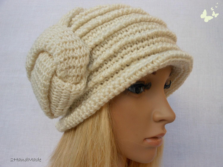 Chunky Crochet Flapper Cloche Beanie Brimmed Hat 192O Womens