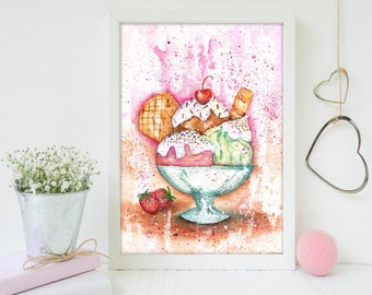 Ice Cream Wall Art, Ice Cream Watercolor, Dessert Painting, Watercolor Painting, Ice Cream Painting, Ice Cream Art Print, Ice Cream Art