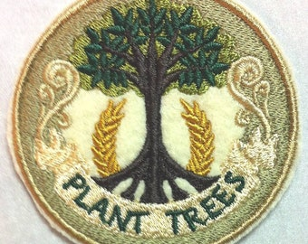 Plant Trees for CONSERVATION -  Be a Tree Hugger!  Embroidered Iron on Patch
