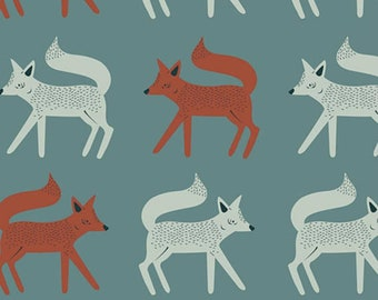Fox Cotton Fabric - Orange, White, and Teal Blue Capsule Campsite by Art Gallery Fabrics Sneaky Little Foxes