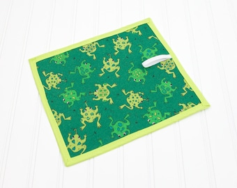 Chalkboard Mat Reusable Art Toy Green and Lime Frogs